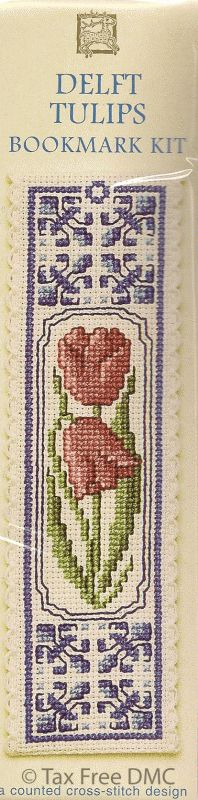 Counted Cross Stitch Kit Bookmark Delft Tulips
