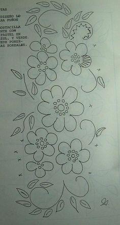 PR BOOK IRMA VAZQUEZ (29) Hand Embroidery Flowers, Hand Embroidery Designs, Ribbon Embroidery, Applique Designs, Embroidery Stitches, Embroidery Patterns, Tole Painting Patterns, Applique Templates, Simple Flowers