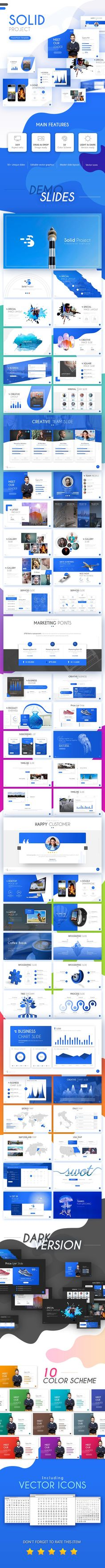Solid Project PowerPoint Template - 55 Multipurpose Slides, Clean, Unique, Creative and Simple
