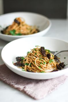Pasta with Morel Mushrooms and a simple, earthy, Miso Brown Butter Sauce, and simple delicious meal highlighting morel's special flavor.
