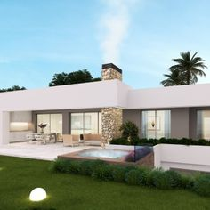 Flat Roof House Designs, Bungalow House Design, Modern Bungalow, Family House Plans, Dream House Plans, Modern House Plans, House Cladding, Facade House, Minimalist House Design
