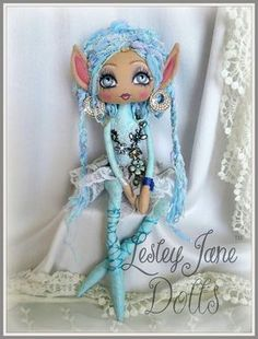 Amira Sparkledice, Deluxe Turquoise Pixie Art Doll by Lesley Jane Dolls