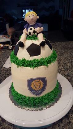 Orlando city soccer theme cake