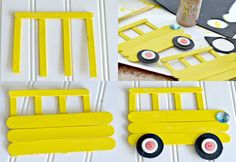 Easy Back-to-School Photo Frame Craft - Basteln Popsicle Stick Crafts For Kids, Fun Crafts For Kids, Craft Activities For Kids, Craft Stick Crafts, Toddler Crafts, Creative Crafts, Preschool Crafts, Art For Kids, Arts And Crafts