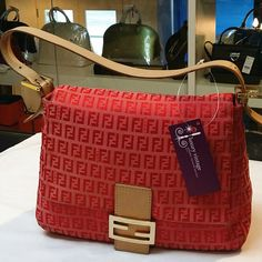 Fendi Mama Bag red/pink zucca canvas with brown leather and gold hardware