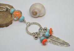collier sautoir 76 cm perles verre filé au chalumeau orange et turquoise chaine argent 925 : Collier par liloo-creations