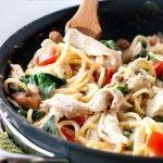 One Pan Chicken Florentine Spaghetti