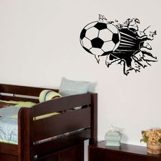 Soccer wall treatment.  This could quite easily be achieved with a little time and patience and of course a basketball or football painted if preferred.