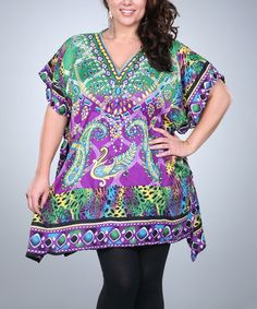 Love this Green & Purple Paisley Kaftan Tunic - Plus by Ananda's Collection on #zulily! #zulilyfinds