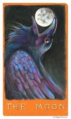 THE MOON, Tarot Card, Major Arcana Tarot Deck designed by Maggie Stiefvater and inspired by her series, The Raven Cycle The Raven, Raven Art, Maggie Stiefvater, The Moon Tarot Card, Tarot Major Arcana, Cartomancy, Oracle Cards, Moon Art, Illustrations