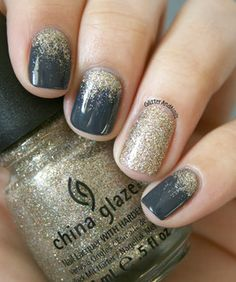 to Make Your Make your with these Glitter Nail Art For Glitter Nails; and Glitter Nail Design for Short Glitter Accent Nails, Glitter Nail Art, Gold Nails, Sparkle Nails, Silver Glitter, Gold Sparkle, Dark Nails With Glitter, Grey Gel Nails, Dark Grey Nails
