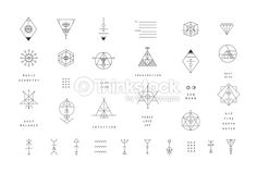 Vector Art : Set of vector trendy geometric icons. Alchemy symbols collection.