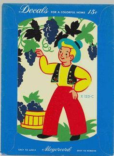 Folk Art Boy Vintage Meyercord Decal X123-C | OldFamilyAlbum - Paper Goods on ArtFire