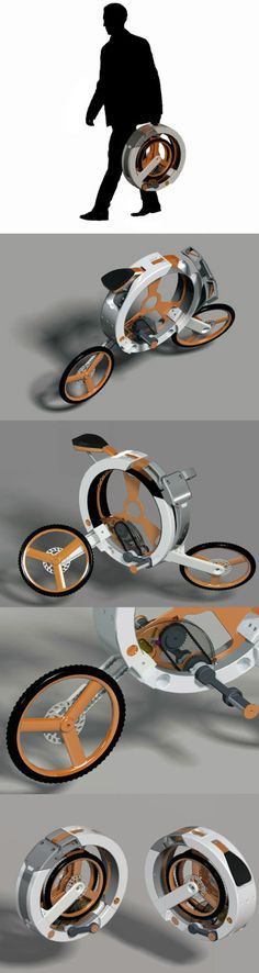 Tech & Gadgets bike compacts into a circle for carry. Concept design motorcycles and futuristic scooters - innovation