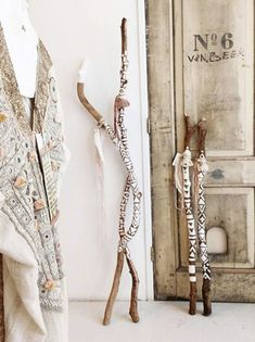 painted sticks - home decoration - rustic modern