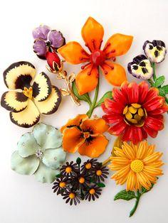 Jewelry Lot Vintage Enamel Flower Pins by HiddenStairwayFinds