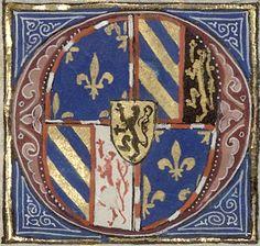 Armes de Philippe III le Bon, duc de Bourgogne (Coat of arms of Philip the Good, Duke of Burgundy) (f°2r) -- «Croniques de France, d'Angleterre, de Flandres et d'aultres contrées, […]», par David Aubert, vers 1459 [Arsenal, Ms. 6328 réserve - ark:/12148/btv1b55005886f]