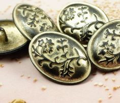 Flower Metal Buttons , Gunmetal and Lemon Yellow Color , Ellipse , Domed , Shank , 0.98 inch , 6 pcs by Lyanwood, $5.00