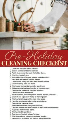 This Pre-Holiday Cleaning Checklist will help you get your home ready for holiday baking decorating and entertaining with a printable checklist. Homemade Cleaning Products, Household Cleaning Tips, Cleaning Checklist, House Cleaning Tips, Spring Cleaning, Cleaning Hacks, Cleaning Routines, Cleaning Crew, Cleaning Schedules