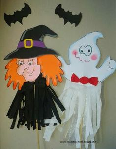 Ghost & witch idea. Can also attach dowel rod or craft stick to make a puppet.