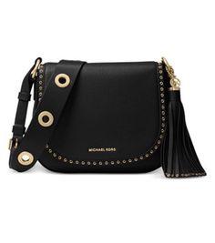 f44cd63700e7e8 Michael Kors Brooklyn Medium Black/Gold Leather Saddle Bag NWT FREE SHIPPING  9 VIEWS PER