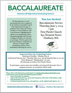 Duxbury Interfaith Council Baccalaureate Service 2014 Baccalaureate, You Are Invited, College Graduation, Inspirational Message, High School, North Hills, Prom, Wedding Ring, Senior Prom
