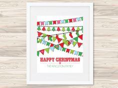 Christmas bunting print - hardtofind. $32.00 #hardtofind #hard #find # holiday #xmas #christmas #decoration