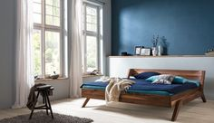 Solid wood bed Nera made by dormiente Wood Beds, Entryway Bench, Solid Wood, Modern, Sweet Home, Attic, Bedroom Ideas, Furniture, Home Decor