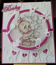 babykaartje met mo manning digi stempel baby is van nellie snellen vlaggetje la la land