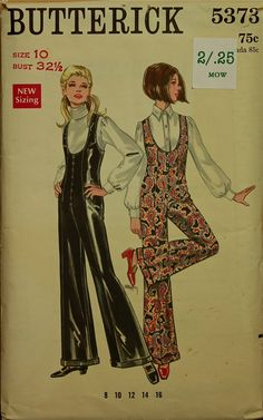 Bell Bottomed Jumpsuit 1970's Butterick by patterntreasury, $14.95