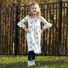Girls Cream Gray Deer Knit Liv Dress