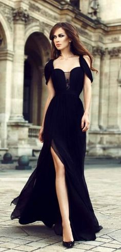 Charming Prom Dresses,Chiffon Prom Dress,Black Prom Dress,Side Slit Prom Dresses,Long Evening Dress,Black Formal Dress Elegant Prom Dress #black #prom #party #long #fashion #okdresses