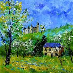 Painting - Medieval Castle In Spring by Pol Ledent , Landscape Art, Landscape Paintings, Landscapes, Castle Painting, Medieval Paintings, Modern Canvas Art, Mountain Paintings, Medieval Castle, Cool Artwork