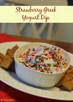 Strawberry Greek Yogurt Dip Recipe.  Super easy & delicious snack!  || The Chirping Moms.