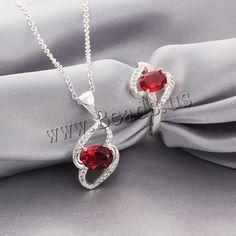 Favourer® ensemble de bijoux, bague, anneau & collier, laiton, Plaqué d'argent,    14x27mm, 14mm, Taille:8, Longueur:Environ 18 pouce