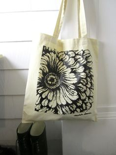 Items similar to Black Flower Tote Bag - Cotton Canvas Tote Bag - Screen Printed Flower Drawing Reusable Bag - Book Tote - Owl Bloom on Etsy Cotton Bag, Cotton Canvas, Retail Supplies, Reusable Bags, Large Bags, Flower Prints, Canvas Tote Bags, Screen Printing, Pattern Design