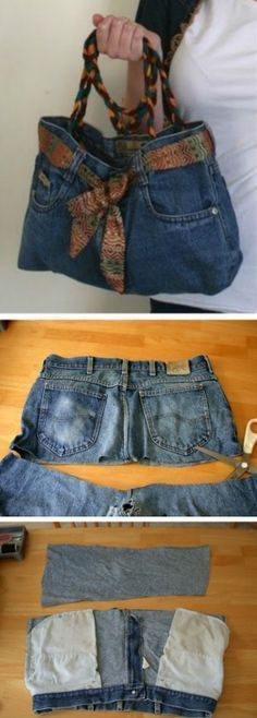 Denim Jeans Bag Pattern Easy DIY Video Tutorial #diyhandbag #diyjeansfashion