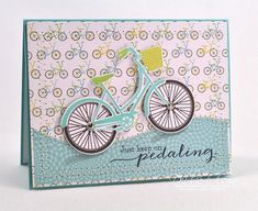 Keep On Pedaling Card by Debbie Olson for Papertrey Ink (May 2013)