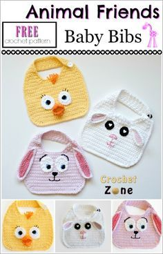 """""""These adorable bibs are perfect to keep your little one's clothes clean in style. I chose a lamb, bunny and chick, but the single crochet bib is the perfect base of many different friends. You can add as much or as little detail as you like with jus Crochet Baby Bibs, Crochet Gratis, Crochet Baby Clothes, Baby Blanket Crochet, Crochet For Kids, Baby Knitting, Free Crochet, Crochet Hippo, Crochet Hooks"""