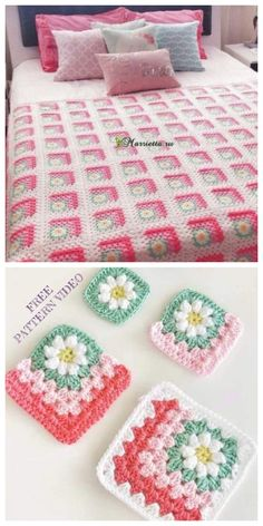 Mitered daisy flower blanket free crochet pattern + video crochet tulip with free pattern Granny Square Crochet Pattern, Crochet Flower Patterns, Crochet Stitches Patterns, Crochet Granny, Baby Blanket Crochet, Crochet Designs, Crochet Flowers, Crochet Blocks, Crochet Daisy