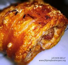 Lechon Belly (Ala Lechon Cebu) Recipe -Rub the top side of the pork belly with the garlic powder ground chili flakes salt and pepper. Filipino Recipes, Filipino Food, Asian Recipes, Filipino Dishes, Pinoy Food, Mexican Recipes, Pork Belly Recipes, Meat Recipes, Cooking Recipes