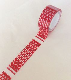 Folk CHRISTMAS Washi Tape Red New Scotch Expressions $1.99 for 8 yards