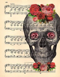 skull art Roses and Music.