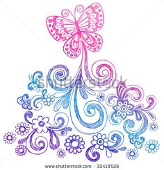 Sketchy Butterfly and Swirls Doodle Vector Illustration - stock vector