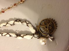 Steam punk jewelry lace-pearls-gears handmade. $42.00