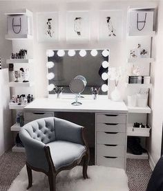 Large DIY Makeup Room Ideas, Organizer, Storage and Decoration ( Room Idea) - Makeup Room Ideas - - Dekoration Ideen - Beauty Room Glam Room, Bedroom Decor Glam, Bedroom Furniture, Bedroom Bed, Furniture Design, Bedroom Table, Furniture Chairs, Furniture Plans, Wall Decor