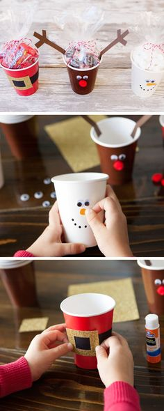Simple Christmas Treat Cups | Click Pic for 18 DIY Christmas Gift Ideas for Kids | Handmade Christmas Gifts for Girls