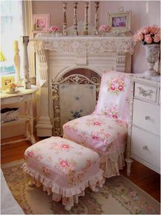 Slipcovers are the epitome of shabby chic. Rather than discarding old furniture, try refurbishing old frames with new fabrics or fitting your chairs and couches with slipcovers. The way the extra cloth hangs from the furnishings gives them their shabby yet unused appeal.
