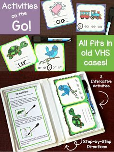 These activities for r-controlled vowels and vowel teams fit so nicely in these old VHS cases!
