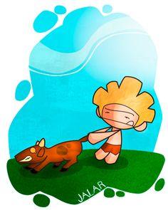 Jalar: Hacer fuerza para traer algo hacia sí o para arrastrarlo. Ej: Por mucho que jalaba el pobre Gofio, Cabra no se movía del sitio.